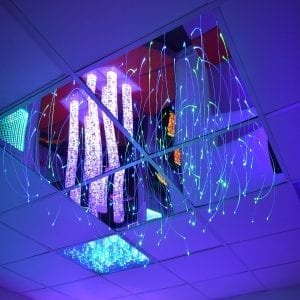 set of 4 mirrored ceiling web